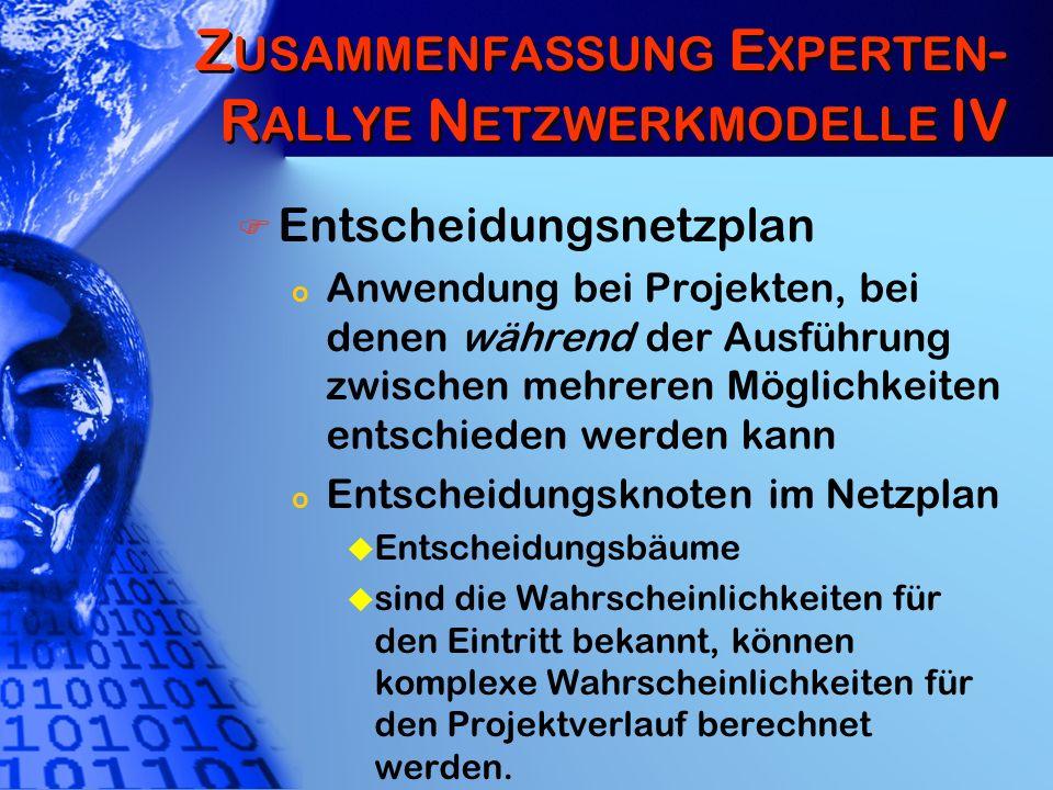 Z EIT & T ERMINPLANUNG : N ICHT -D ETERMINISTISCHE M ODELLE I Projektablauf steht fest, die Dauer der Vorgänge nicht genau.