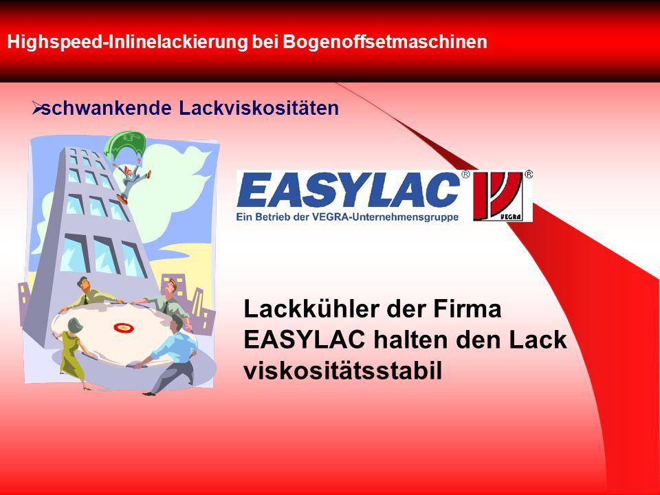 Highspeed-Inlinelackierung bei Bogenoffsetmaschinen schwankende Lackviskositäten Lackkühler der Firma EASYLAC halten den Lack viskositätsstabil