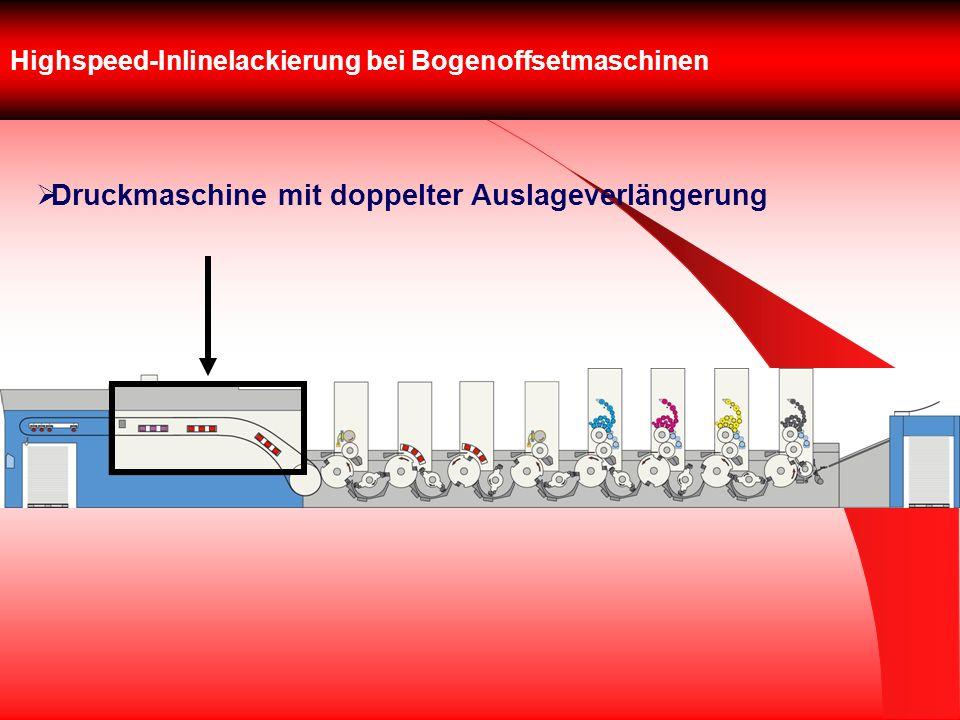 Highspeed-Inlinelackierung bei Bogenoffsetmaschinen Druckmaschine mit doppelter Auslageverlängerung