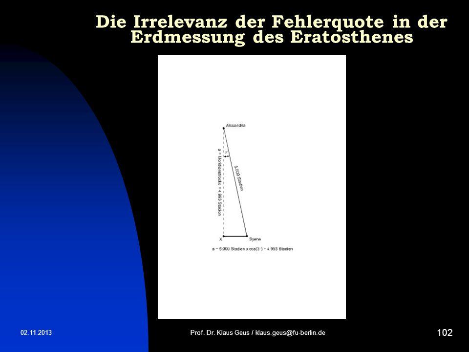 02.11.2013 102 Prof. Dr. Klaus Geus / klaus.geus@fu-berlin.de Die Irrelevanz der Fehlerquote in der Erdmessung des Eratosthenes