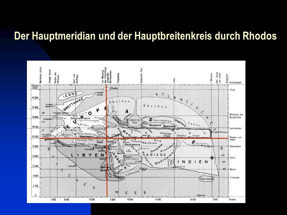 Der Hauptmeridian und der Hauptbreitenkreis durch Rhodos