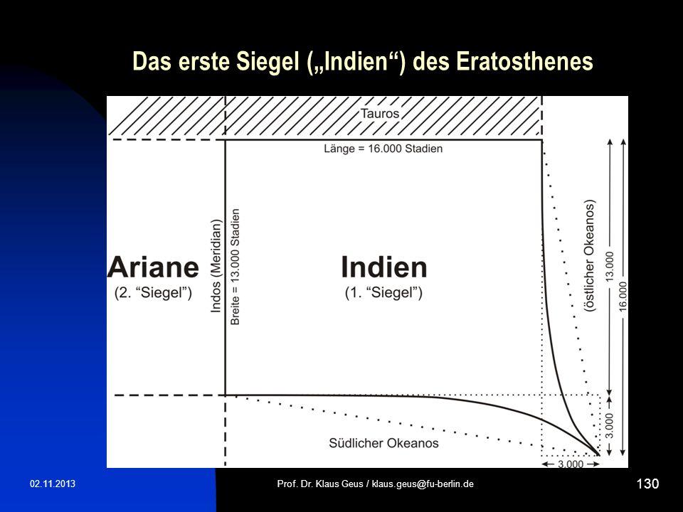 Das erste Siegel (Indien) des Eratosthenes 02.11.2013Prof. Dr. Klaus Geus / klaus.geus@fu-berlin.de 130