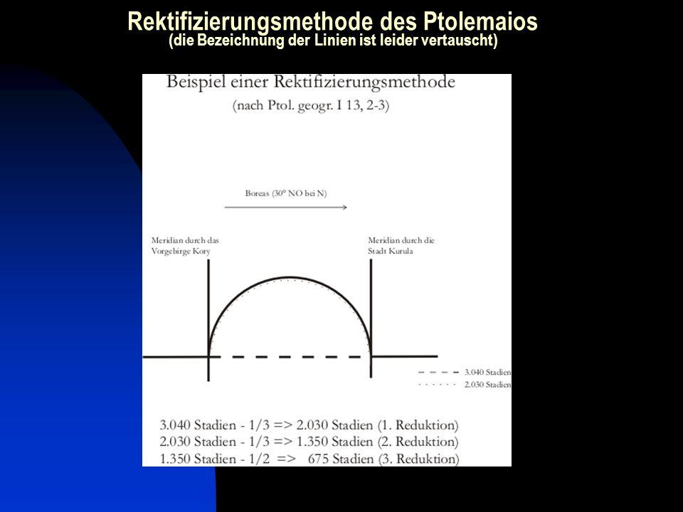 Rektifizierungsmethode des Ptolemaios (die Bezeichnung der Linien ist leider vertauscht)