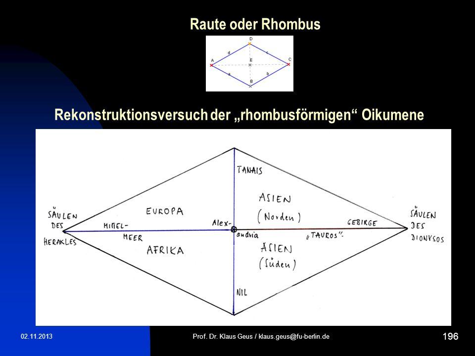 Raute oder Rhombus 02.11.2013Prof. Dr. Klaus Geus / klaus.geus@fu-berlin.de 196 Rekonstruktionsversuch der rhombusförmigen Oikumene
