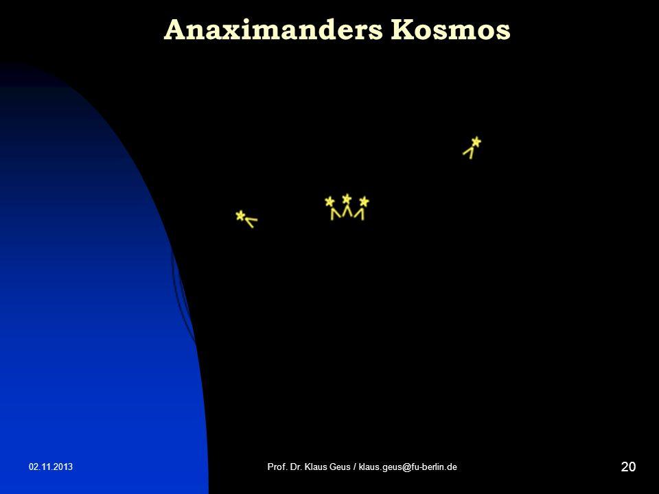 02.11.2013 20 Anaximanders Kosmos Prof. Dr. Klaus Geus / klaus.geus@fu-berlin.de