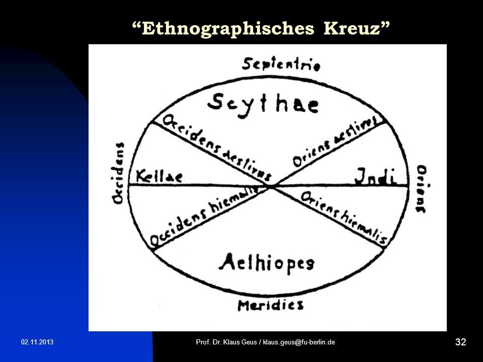 02.11.2013 32 Ethnographisches Kreuz Prof. Dr. Klaus Geus / klaus.geus@fu-berlin.de