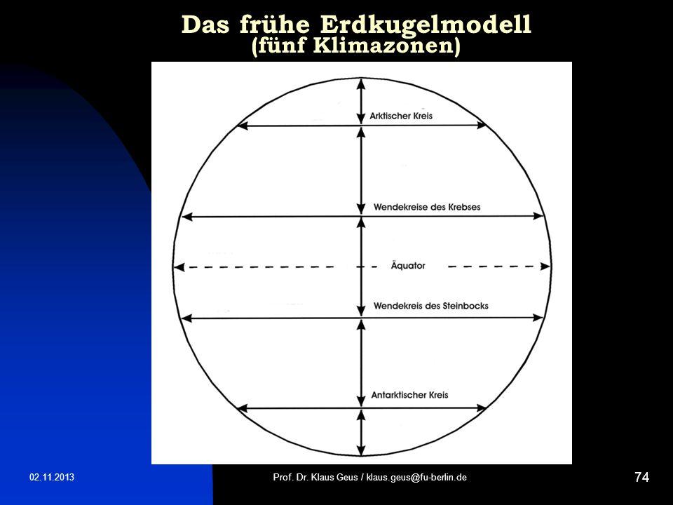 02.11.2013 74 Das frühe Erdkugelmodell (fünf Klimazonen) Prof. Dr. Klaus Geus / klaus.geus@fu-berlin.de