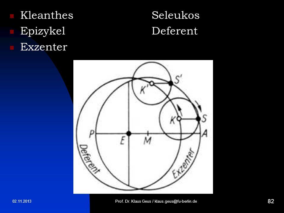 02.11.2013 82 KleanthesSeleukos EpizykelDeferent Exzenter Prof. Dr. Klaus Geus / klaus.geus@fu-berlin.de