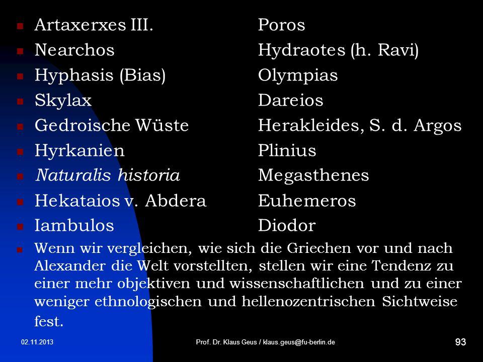 02.11.2013 93 Artaxerxes III.Poros NearchosHydraotes (h. Ravi) Hyphasis (Bias)Olympias SkylaxDareios Gedroische WüsteHerakleides, S. d. Argos Hyrkanie