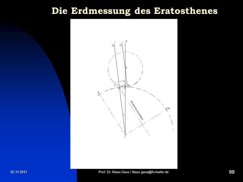 02.11.2013 99 Die Erdmessung des Eratosthenes Prof. Dr. Klaus Geus / klaus.geus@fu-berlin.de