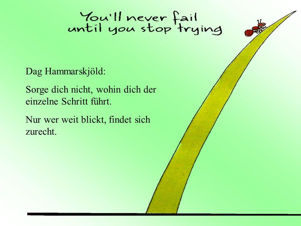 Dag Hammarskjöld: Sorge dich nicht, wohin dich der einzelne Schritt führt. Nur wer weit blickt, findet sich zurecht.