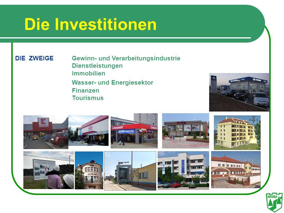 Die Investitionen DIE ZWEIGE Gewinn- und Verarbeitungsindustrie Dienstleistungen Immobilien Wasser- und Energiesektor Finanzen Tourismus