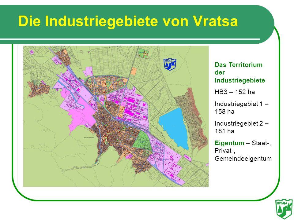 Die Industriegebiete von Vratsa Das Territorium der Industriegebiete HBЗ – 152 ha Industriegebiet 1 – 158 ha Industriegebiet 2 – 181 ha Eigentum – Sta