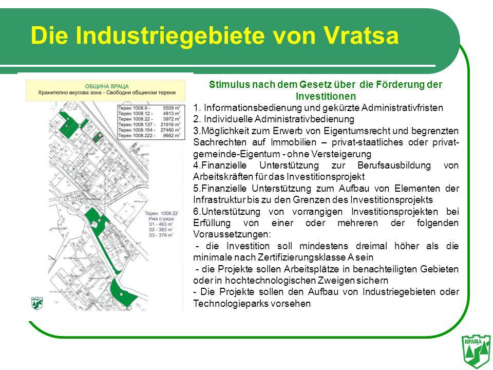 Die Industriegebiete von Vratsa Stimulus nach dem Gesetz über die Förderung der Investitionen 1. Informationsbedienung und gekürzte Administrativfrist