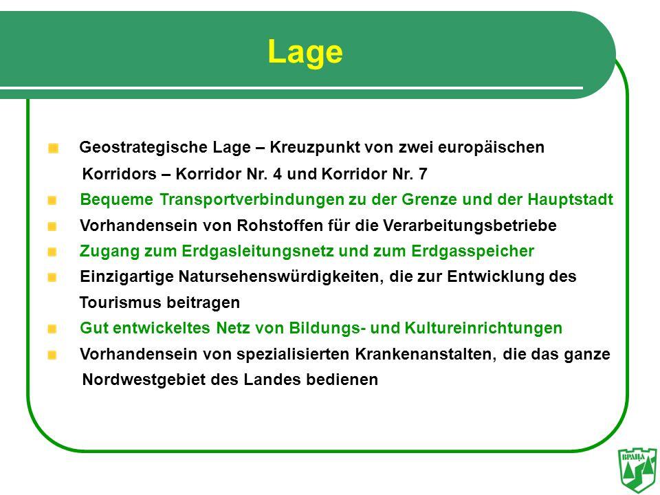 Lage Geostrategische Lage – Kreuzpunkt von zwei europäischen Korridors – Korridor Nr. 4 und Korridor Nr. 7 Bequeme Transportverbindungen zu der Grenze