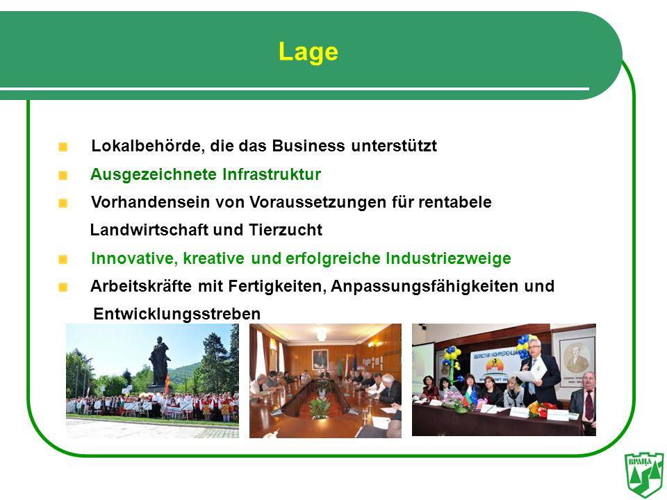 Lage Lokalbehörde, die das Business unterstützt Ausgezeichnete Infrastruktur Vorhandensein von Voraussetzungen für rentabele Landwirtschaft und Tierzu