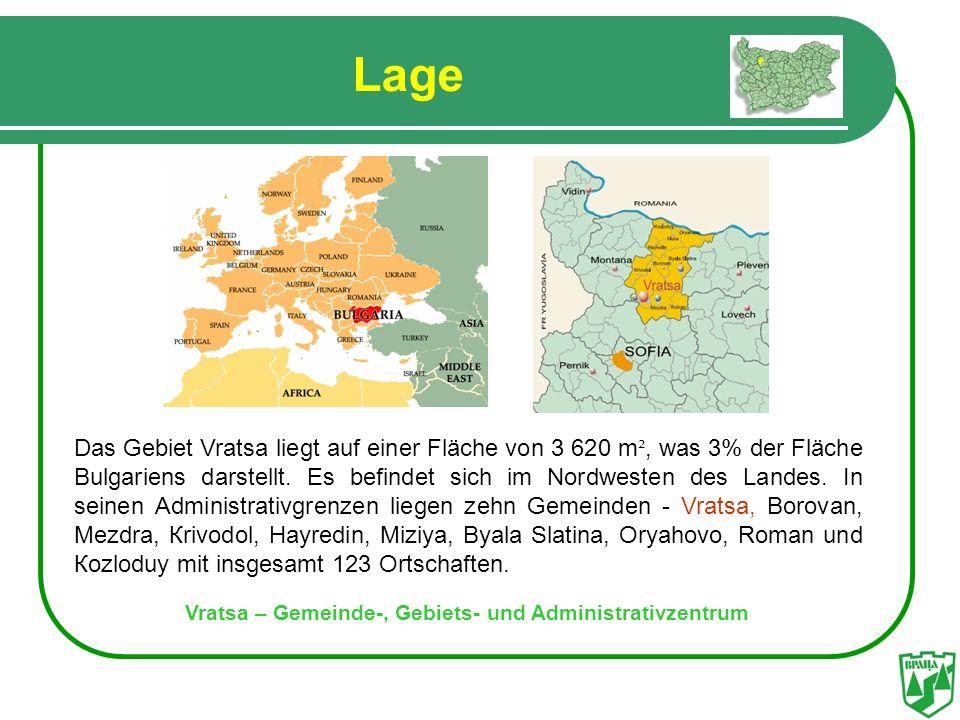 Lage Vratsa – Gemeinde-, Gebiets- und Administrativzentrum Das Gebiet Vratsa liegt auf einer Fläche von 3 620 m ², was 3% der Fläche Bulgariens darste