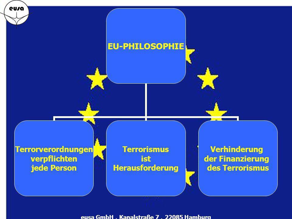 EU-PHILOSOPHIE Terrorverordnungen verpflichten jede Person Terrorismus ist Herausforderung Verhinderung der Finanzierung des Terrorismus eusa GmbH.