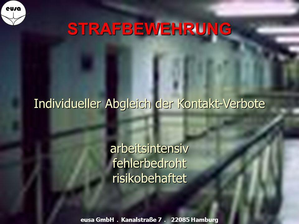 STRAFBEWEHRUNG Individueller Abgleich der Kontakt-Verbote arbeitsintensivfehlerbedrohtrisikobehaftet eusa GmbH.