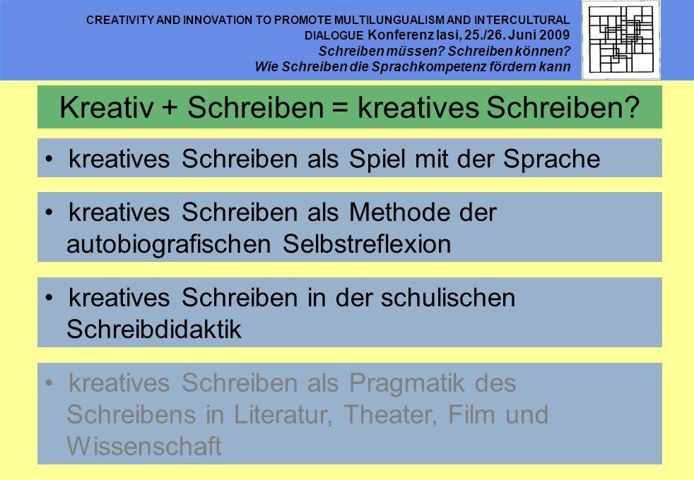 CREATIVITY AND INNOVATION TO PROMOTE MULTILUNGUALISM AND INTERCULTURAL DIALOGUE Konferenz Iasi, 25./26. Juni 2009 Schreiben müssen? Schreiben können?