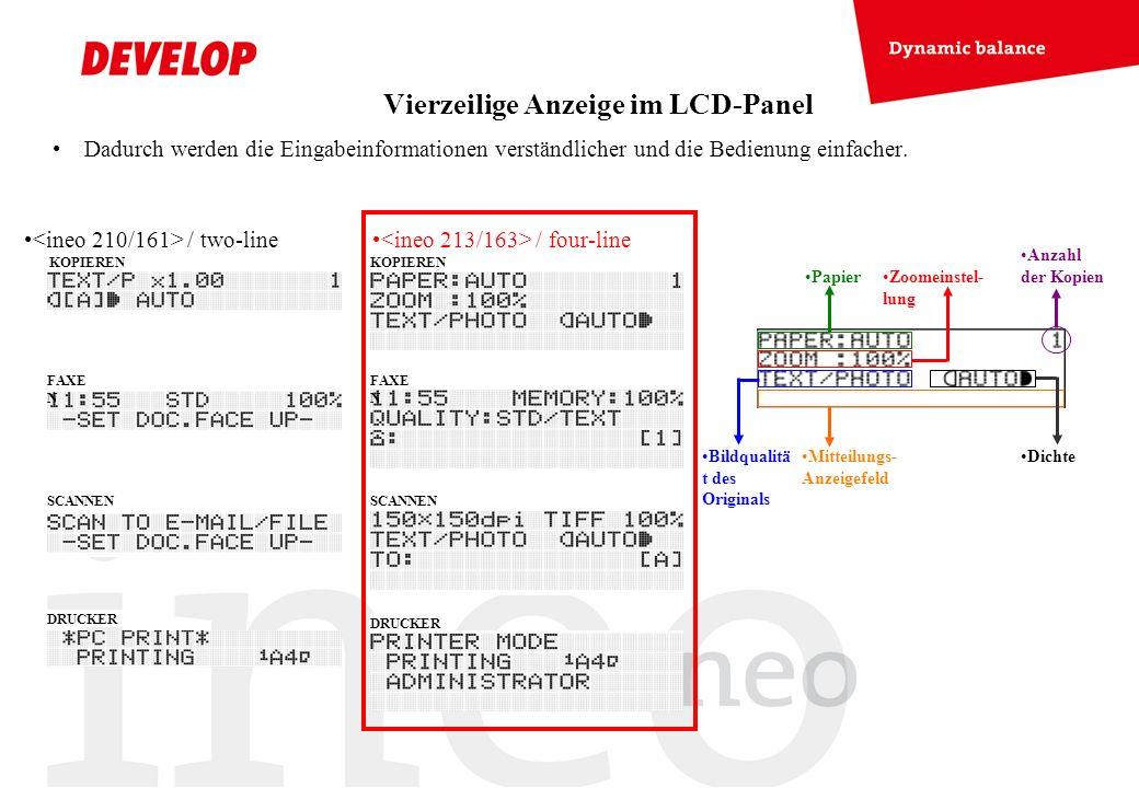 Vierzeilige Anzeige im LCD-Panel Dadurch werden die Eingabeinformationen verständlicher und die Bedienung einfacher. / two-line / four-line Dichte Pap