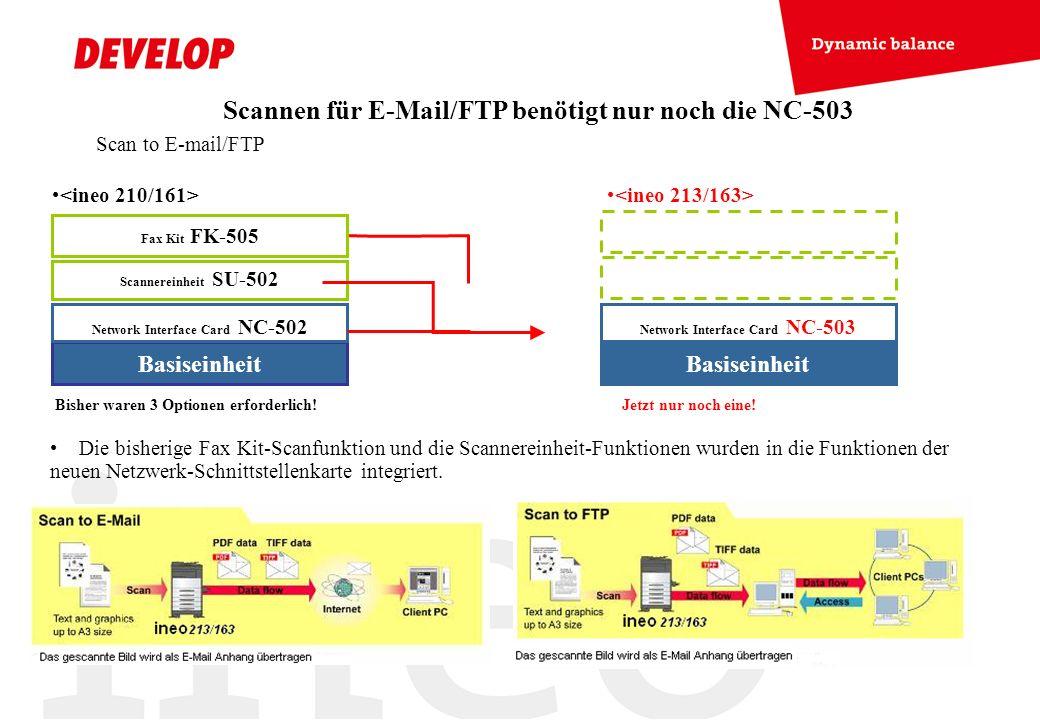 Scan to E-mail/FTP Scannen für E-Mail/FTP benötigt nur noch die NC-503 Die bisherige Fax Kit-Scanfunktion und die Scannereinheit-Funktionen wurden in