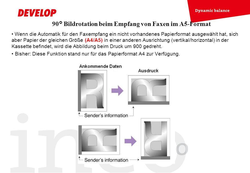 90° Bildrotation beim Empfang von Faxen im A5-Format Wenn die Automatik für den Faxempfang ein nicht vorhandenes Papierformat ausgewählt hat, sich abe