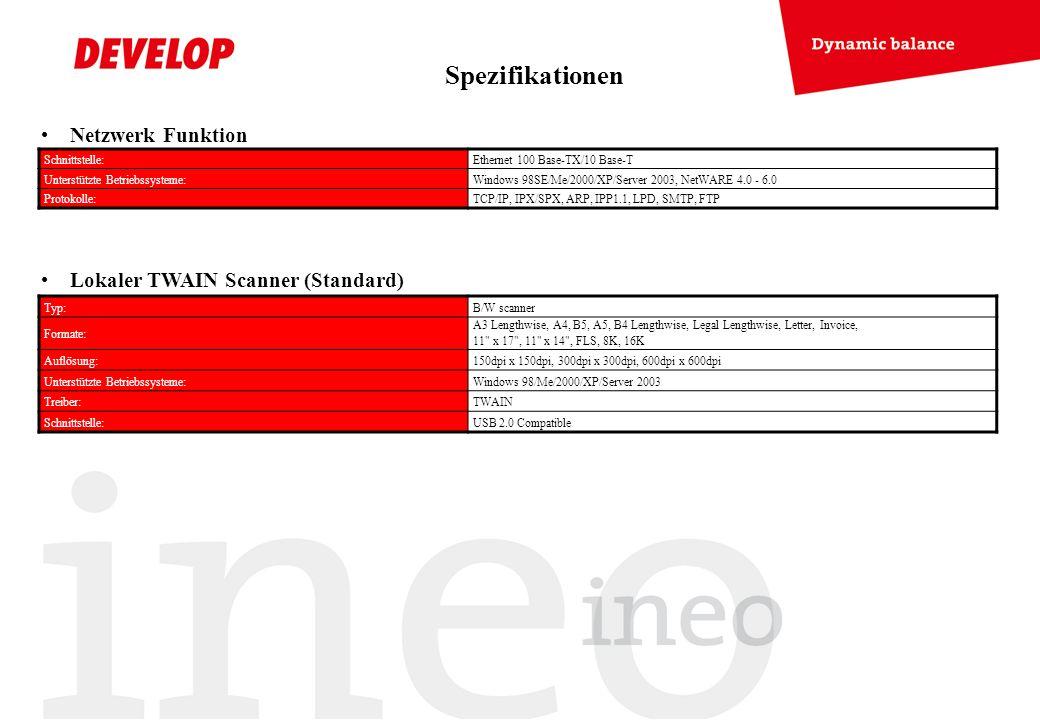 Netzwerk Funktion Lokaler TWAIN Scanner (Standard) Schnittstelle:Ethernet 100 Base-TX/10 Base-T Unterstützte Betriebssysteme:Windows 98SE/Me/2000/XP/S