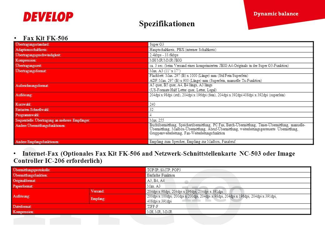 Fax Kit FK-506 Internet-Fax (Optionales Fax Kit FK-506 and Netzwerk-Schnittstellenkarte NC-503 oder Image Controller IC-206 erforderlich) Übertragungs