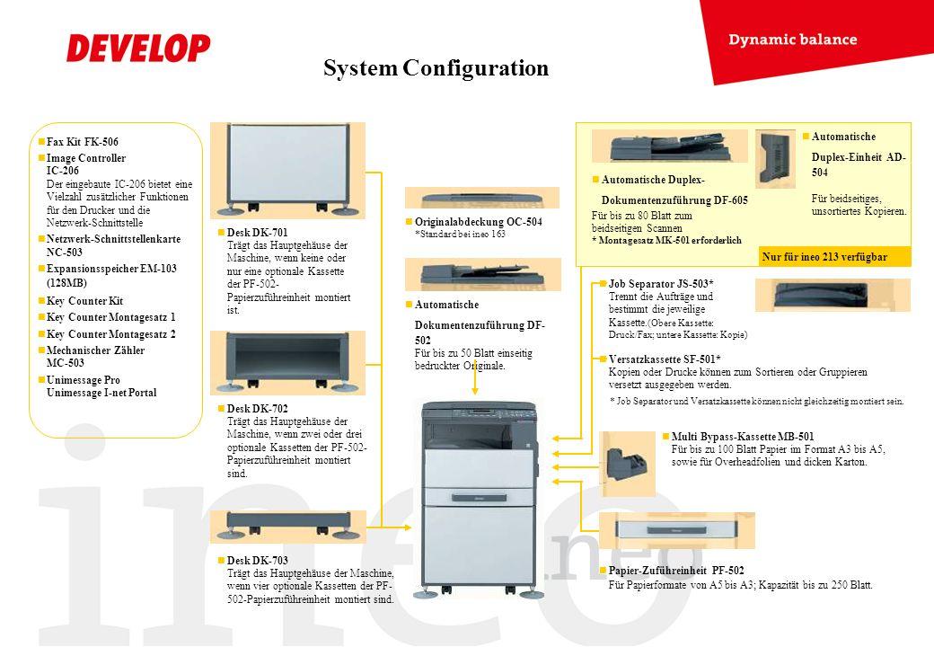 System Configuration Fax Kit FK-506 Image Controller IC-206 Der eingebaute IC-206 bietet eine Vielzahl zusätzlicher Funktionen für den Drucker und die