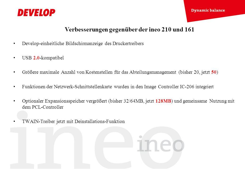 Develop-einheitliche Bildschirmanzeige des Druckertreibers USB 2.0-kompatibel Größere maximale Anzahl von Kostenstellen für das Abteilungsmanagement (