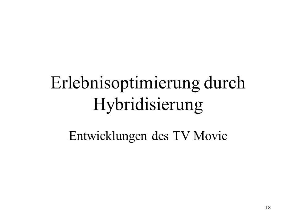 19 Hybridisierung der TV Movie Genres Seit der Jahrtausendwende ist eine Hybridisierung in den TV Movie Genres erkennbar Folge: Höhere Komplexität der Themen und Handlungsverläufe Erweiterung des emotionalen Erlebnisspektrums Erweiterung der Zielgruppen Ansprache
