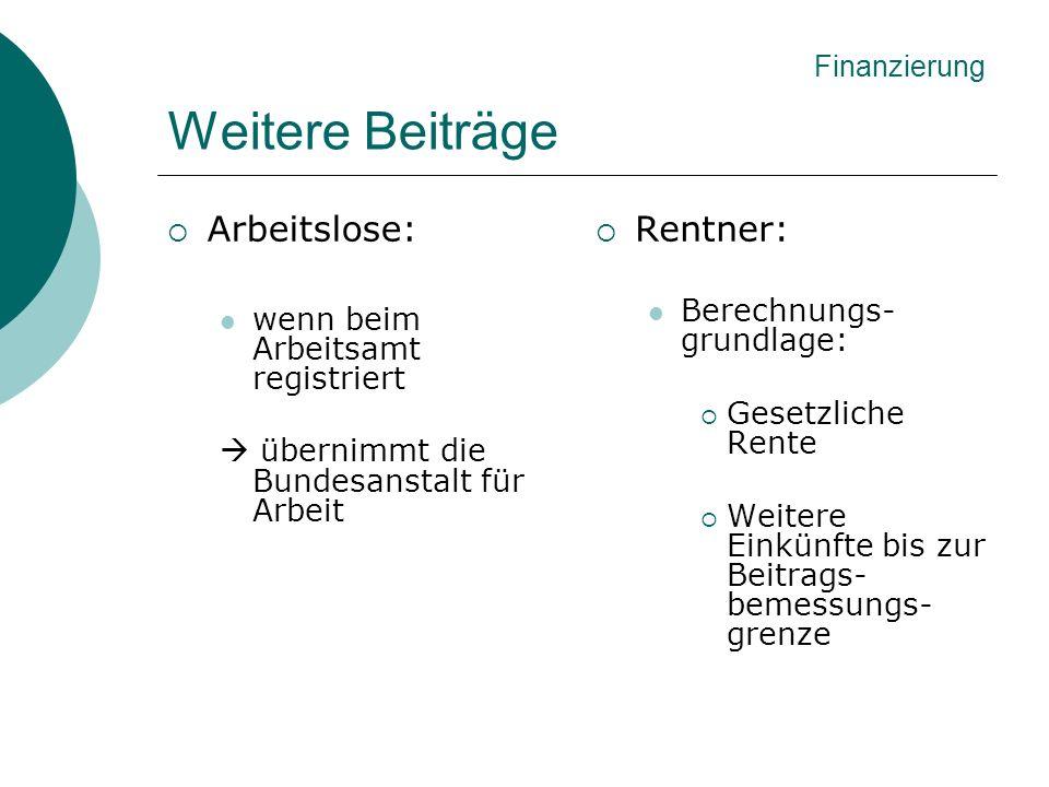 Weitere Beiträge Arbeitslose: wenn beim Arbeitsamt registriert übernimmt die Bundesanstalt für Arbeit Rentner: Berechnungs- grundlage: Gesetzliche Ren
