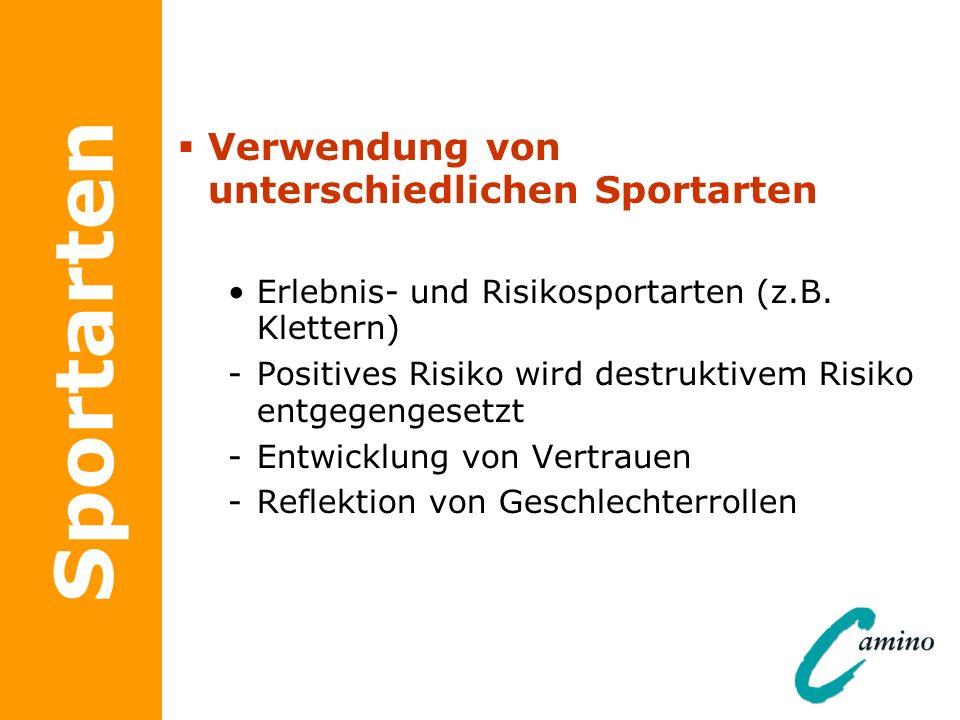 Sportarten Verwendung von unterschiedlichen Sportarten Erlebnis- und Risikosportarten (z.B. Klettern) -Positives Risiko wird destruktivem Risiko entge