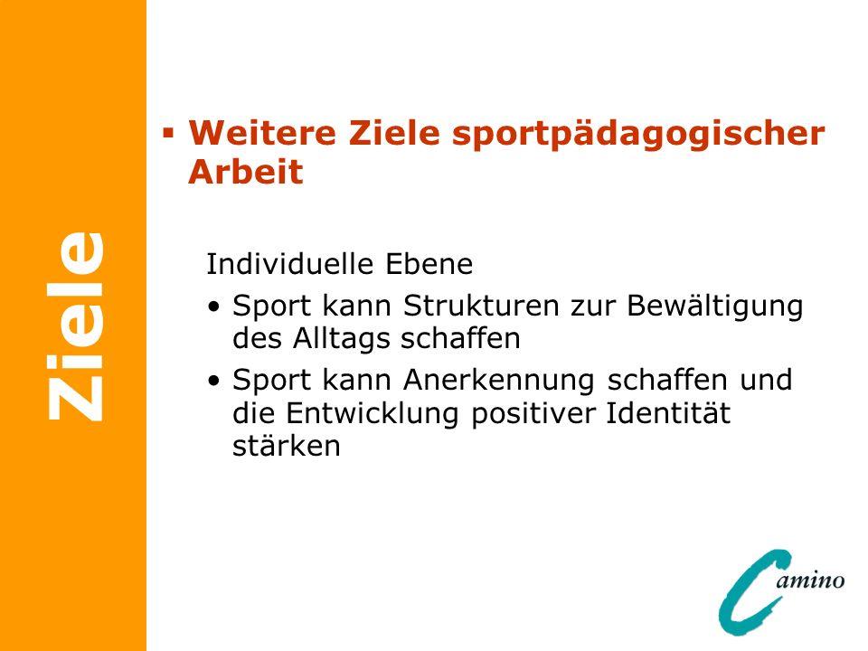 Ziele Weitere Ziele sportpädagogischer Arbeit Individuelle Ebene Sport kann Strukturen zur Bewältigung des Alltags schaffen Sport kann Anerkennung sch