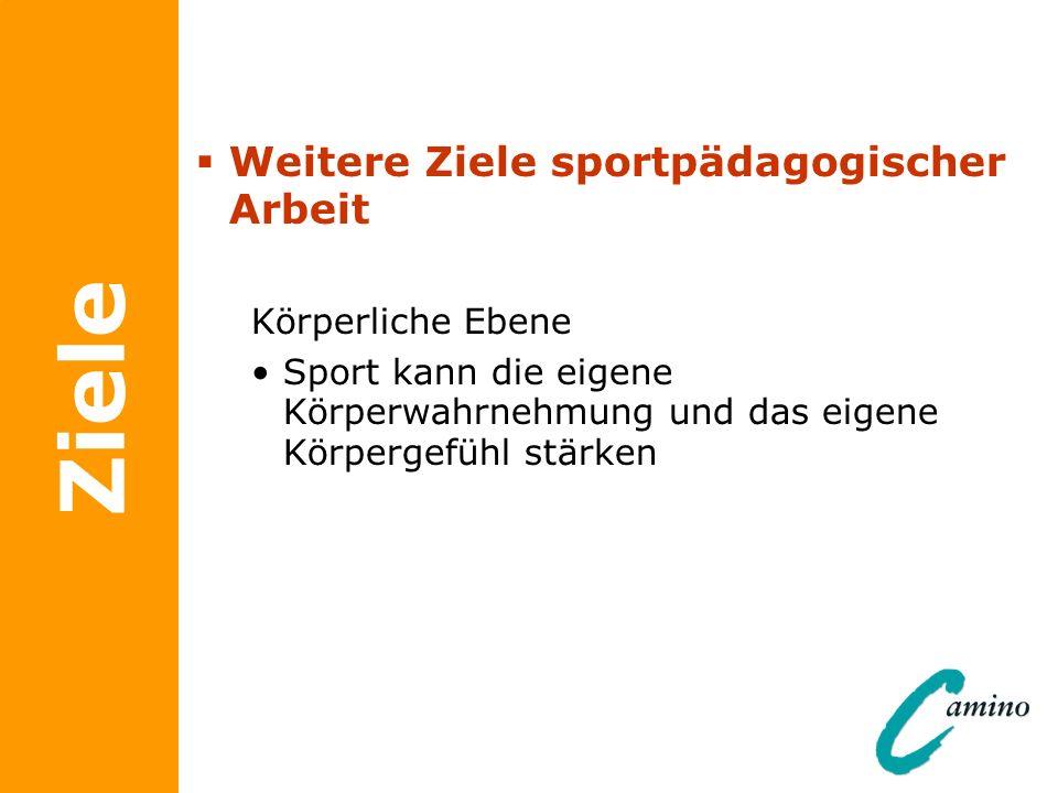 Ziele Weitere Ziele sportpädagogischer Arbeit Körperliche Ebene Sport kann die eigene Körperwahrnehmung und das eigene Körpergefühl stärken