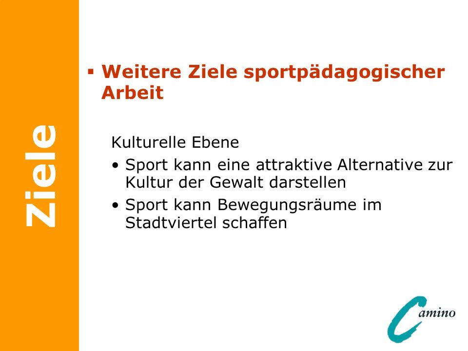 Ziele Weitere Ziele sportpädagogischer Arbeit Kulturelle Ebene Sport kann eine attraktive Alternative zur Kultur der Gewalt darstellen Sport kann Bewe