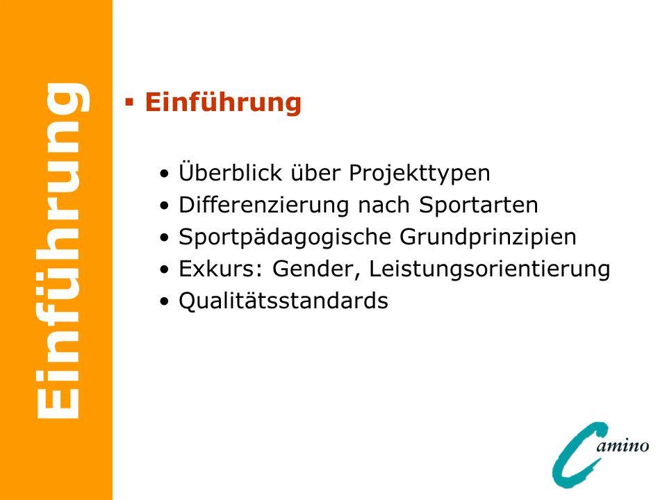 Einführung Überblick über Projekttypen Differenzierung nach Sportarten Sportpädagogische Grundprinzipien Exkurs: Gender, Leistungsorientierung Qualitä
