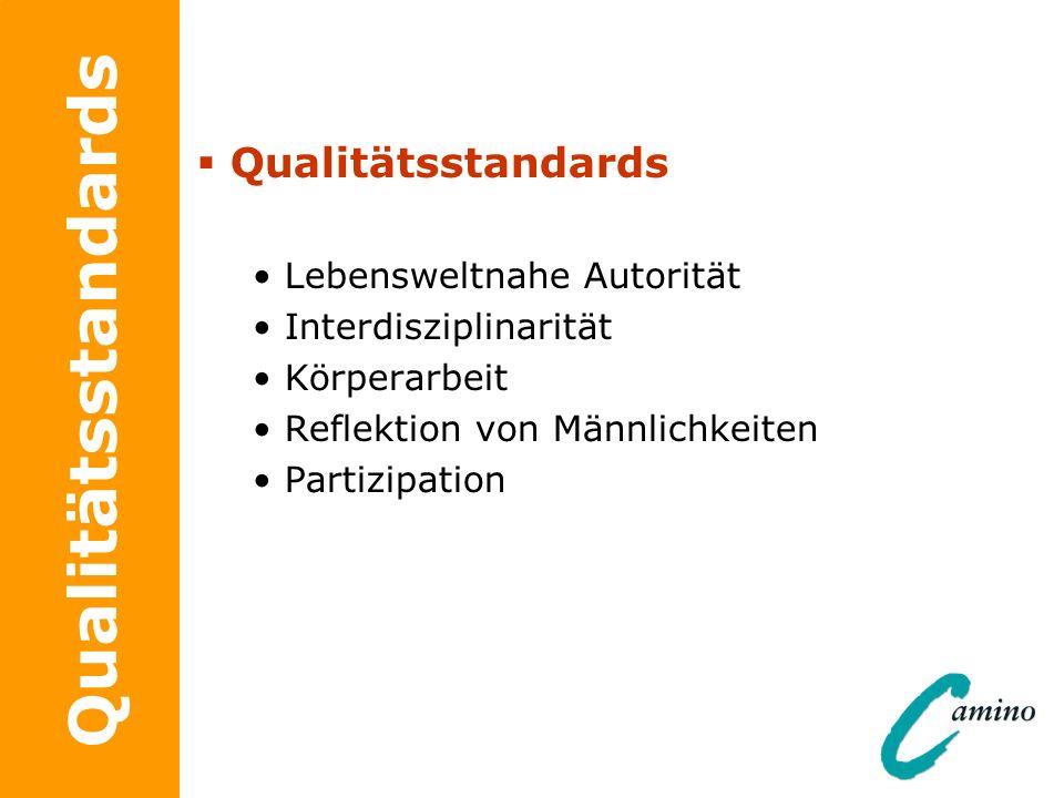 Qualitätsstandards Lebensweltnahe Autorität Interdisziplinarität Körperarbeit Reflektion von Männlichkeiten Partizipation