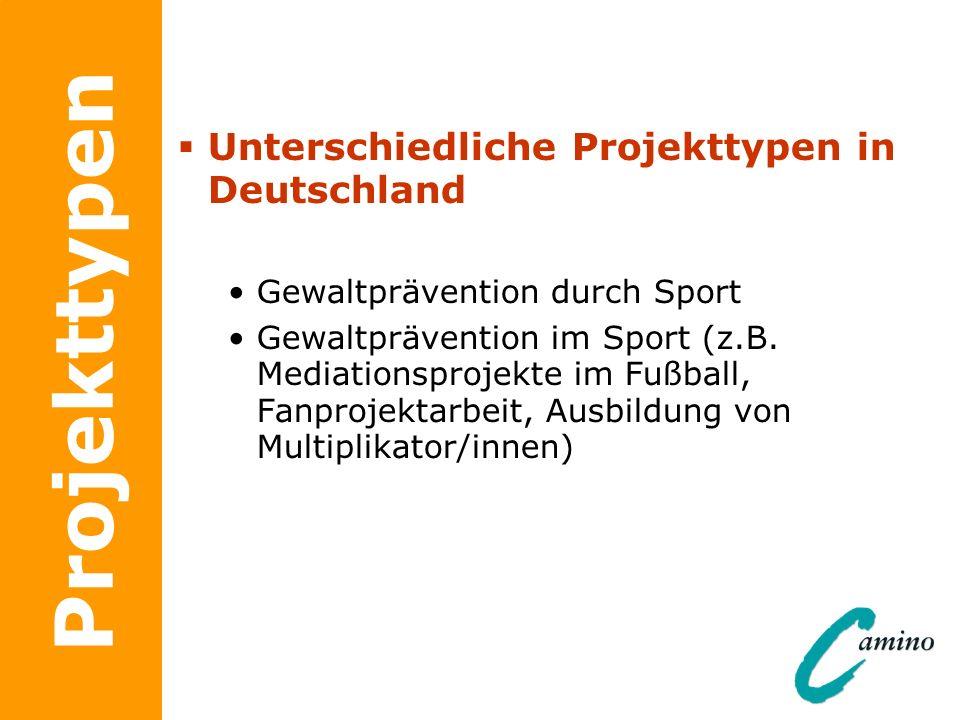 Projekttypen Unterschiedliche Projekttypen in Deutschland Gewaltprävention durch Sport Gewaltprävention im Sport (z.B. Mediationsprojekte im Fußball,
