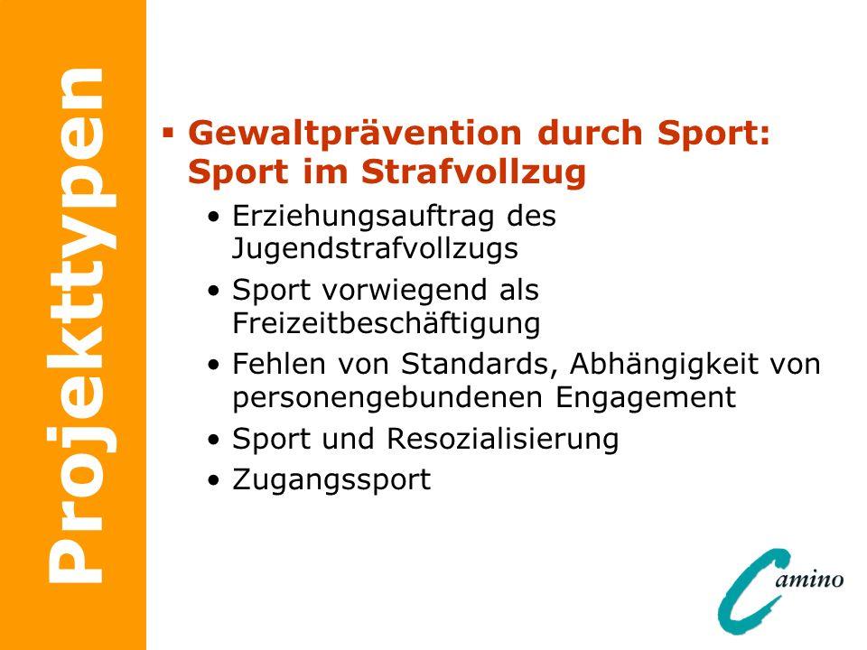 Projekttypen Gewaltprävention durch Sport: Sport im Strafvollzug Erziehungsauftrag des Jugendstrafvollzugs Sport vorwiegend als Freizeitbeschäftigung