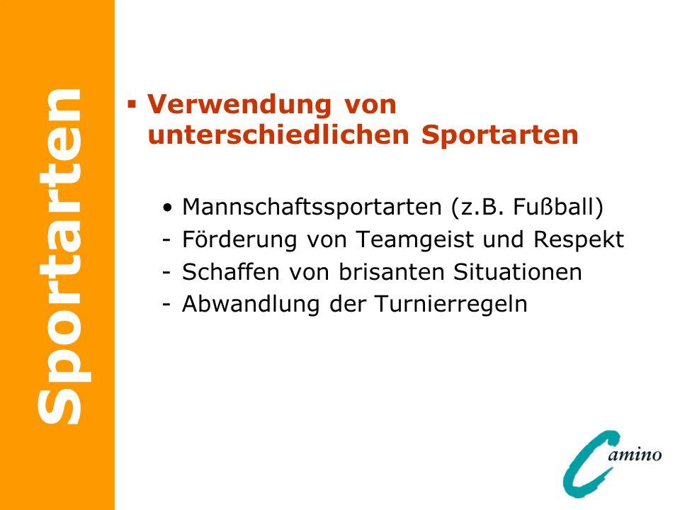 Sportarten Verwendung von unterschiedlichen Sportarten Mannschaftssportarten (z.B. Fußball) -Förderung von Teamgeist und Respekt -Schaffen von brisant