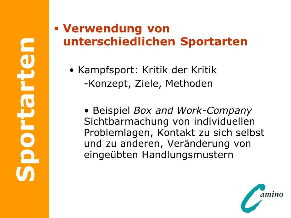 Sportarten Verwendung von unterschiedlichen Sportarten Kampfsport: Kritik der Kritik -Konzept, Ziele, Methoden Beispiel Box and Work-Company Sichtbarm