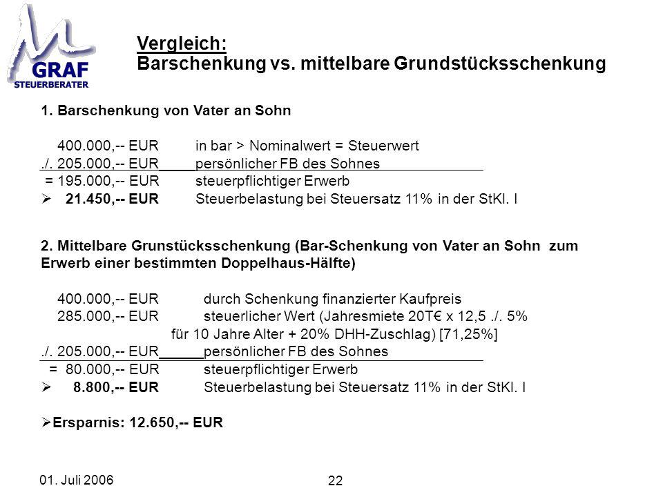 22 01. Juli 2006 1. Barschenkung von Vater an Sohn 400.000,-- EURin bar > Nominalwert = Steuerwert./. 205.000,-- EURpersönlicher FB des Sohnes = 195.0