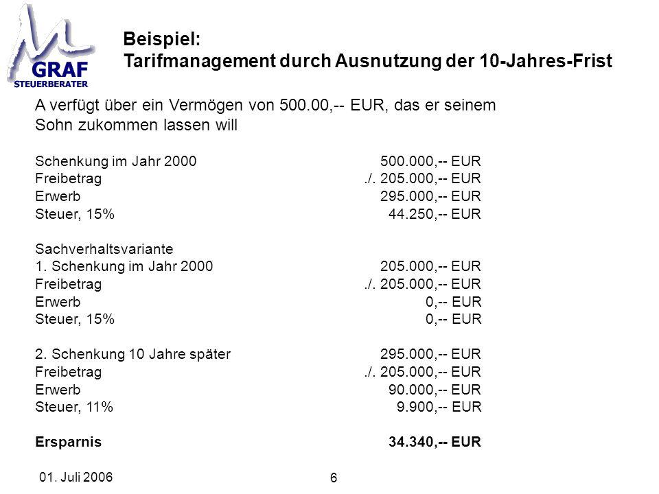 6 01. Juli 2006 Beispiel: Tarifmanagement durch Ausnutzung der 10-Jahres-Frist A verfügt über ein Vermögen von 500.00,-- EUR, das er seinem Sohn zukom