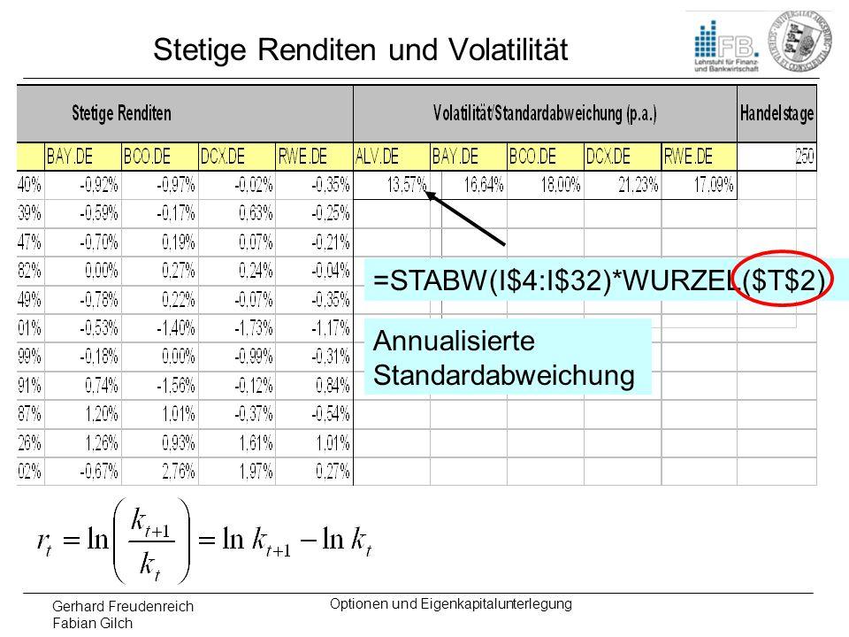 Gerhard Freudenreich Fabian Gilch Optionen und Eigenkapitalunterlegung Stetige Renditen und Volatilität =STABW(I$4:I$32)*WURZEL($T$2) Annualisierte St