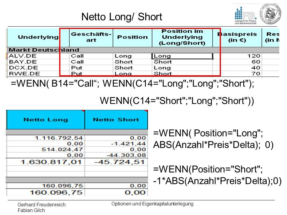 Gerhard Freudenreich Fabian Gilch Optionen und Eigenkapitalunterlegung Netto Long/ Short =WENN( Position=