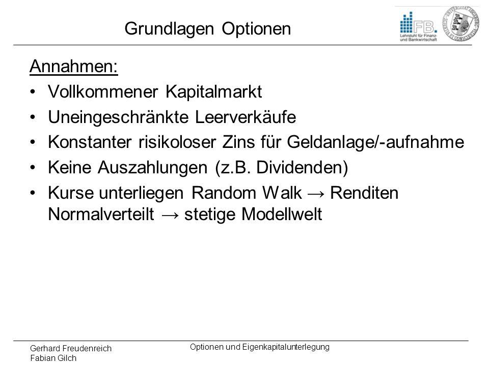 Gerhard Freudenreich Fabian Gilch Optionen und Eigenkapitalunterlegung Grundlagen Optionen Annahmen: Vollkommener Kapitalmarkt Uneingeschränkte Leerve