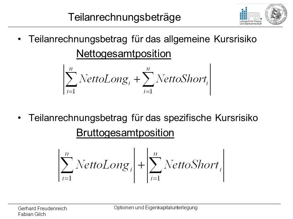 Gerhard Freudenreich Fabian Gilch Optionen und Eigenkapitalunterlegung Teilanrechnungsbeträge Teilanrechnungsbetrag für das allgemeine Kursrisiko Nett