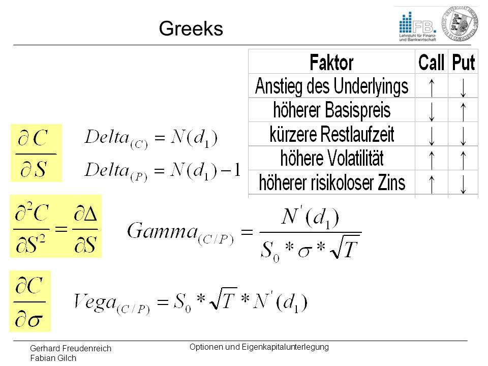 Gerhard Freudenreich Fabian Gilch Optionen und Eigenkapitalunterlegung Greeks